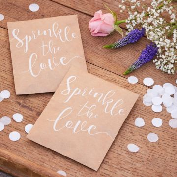 """Sprinkle the Love"" White Wedding Confetti"